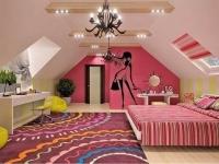 Комната на мансарде для девочки-подростка
