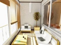 Интерьер комнаты отдыха на большой лоджии