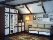 Разноуровневые шкафы под скатом крыши мансарды