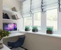Обустраивая балкон под кабинет лучше отдать предпочтение светлым тонам