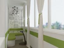 Точечные и потолочные светильники на балконе