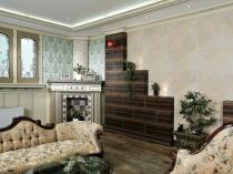 Белый потолочный плинтус с подсветкой в гостиной