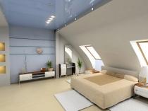 Натяжной потолок мансарды со встроенным освещением