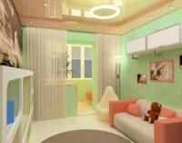 Пример совмещения детской комнаты и балкона