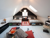 Интерьер спальни на мансарде в стиле модерн