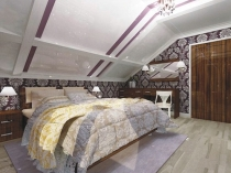 Отделка стен спальни на мансарде обоями