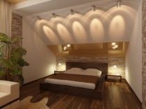 Эффектное освещение спальни на мансарде