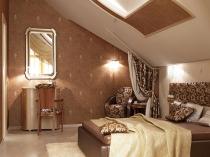Обустройство спальни в коричневых тонах на мансарде